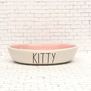 Rae Dunn oval cat  kitty dish/plate pink interior